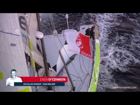 Enda O'Coineen dismasted - sailingyacht in distress in stormy weather