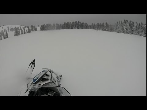 Carving on the 2015 Polaris 600 Voyageur 144 Snowmobile at Mushy Park