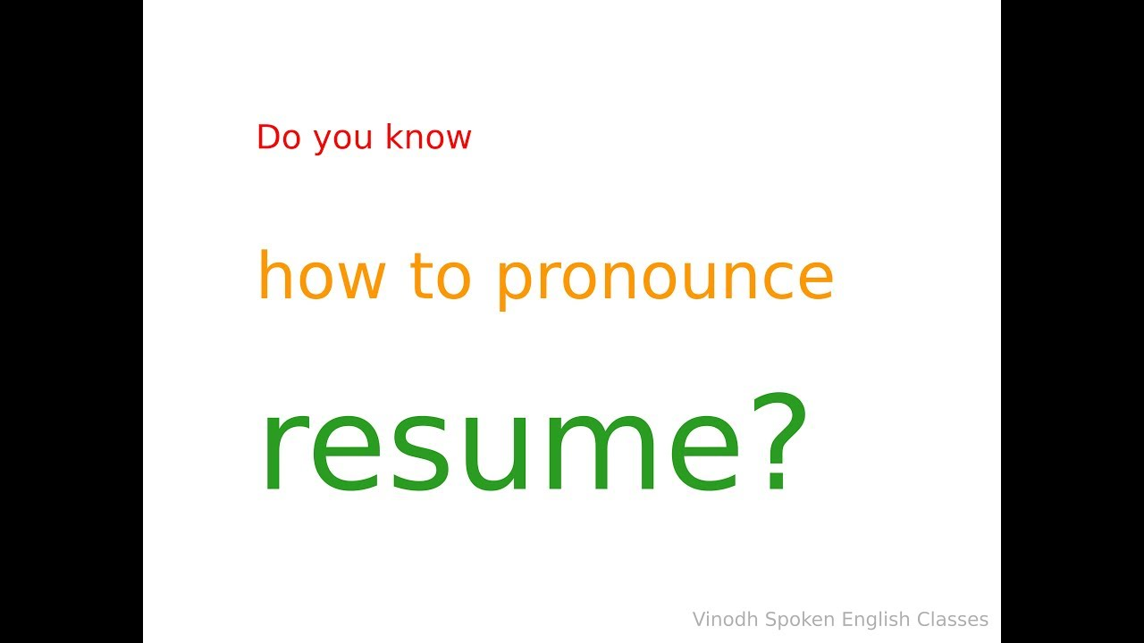 how to pronounce resume explanation in tamil language youtube