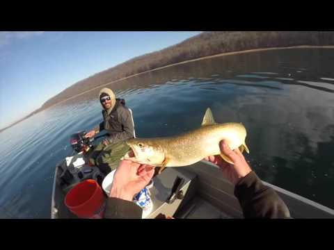 Lake Trout Attempt At Round Valley NJ Superbowl Sunday 2/7/16