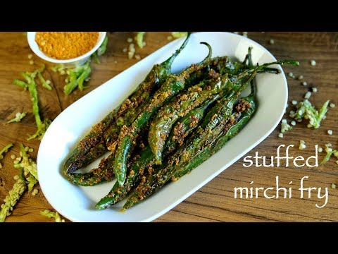 Mirchi Fry Recipe - Stuffed Green Chilli Fry - Bharwan Mirchi Fry Recipe