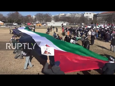 USA: Pro-Palestine protesters rally in DC against US embassy move to Jerusalem