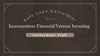 IFVI - Auto Loan Calculator