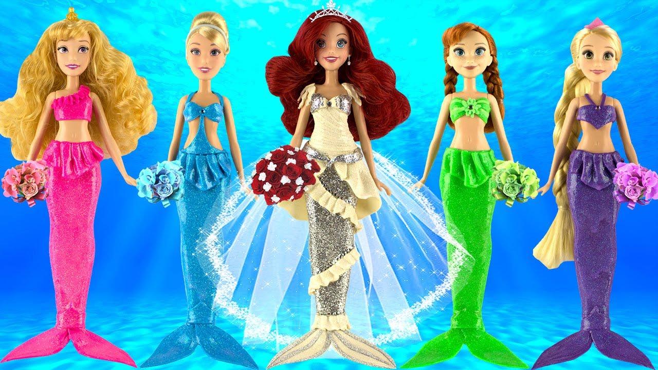 Play doh mermaid wedding dress ariel rapunzel anna cinderella aurora ...
