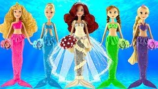 Play doh mermaid wedding dress ariel rapunzel anna cinderella aurora play doh disney princess video