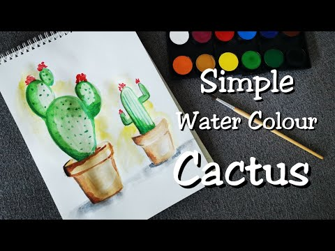 Water Colour Painting Cactus || Easy For Kids & Beginners || step by step in 2 minute