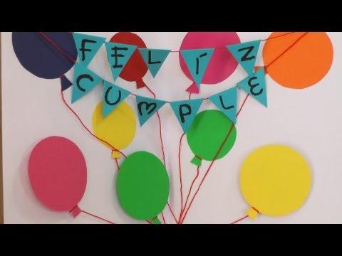 Letrero de globos en foami decoracion para tu fiesta - Manualidades para regalar en cumpleanos ...