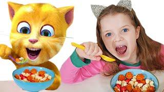 Morning Routine - Eating and Playing with ginger cat!! شفا تأكل الفطور و تلعب مع القط توم المتكلم