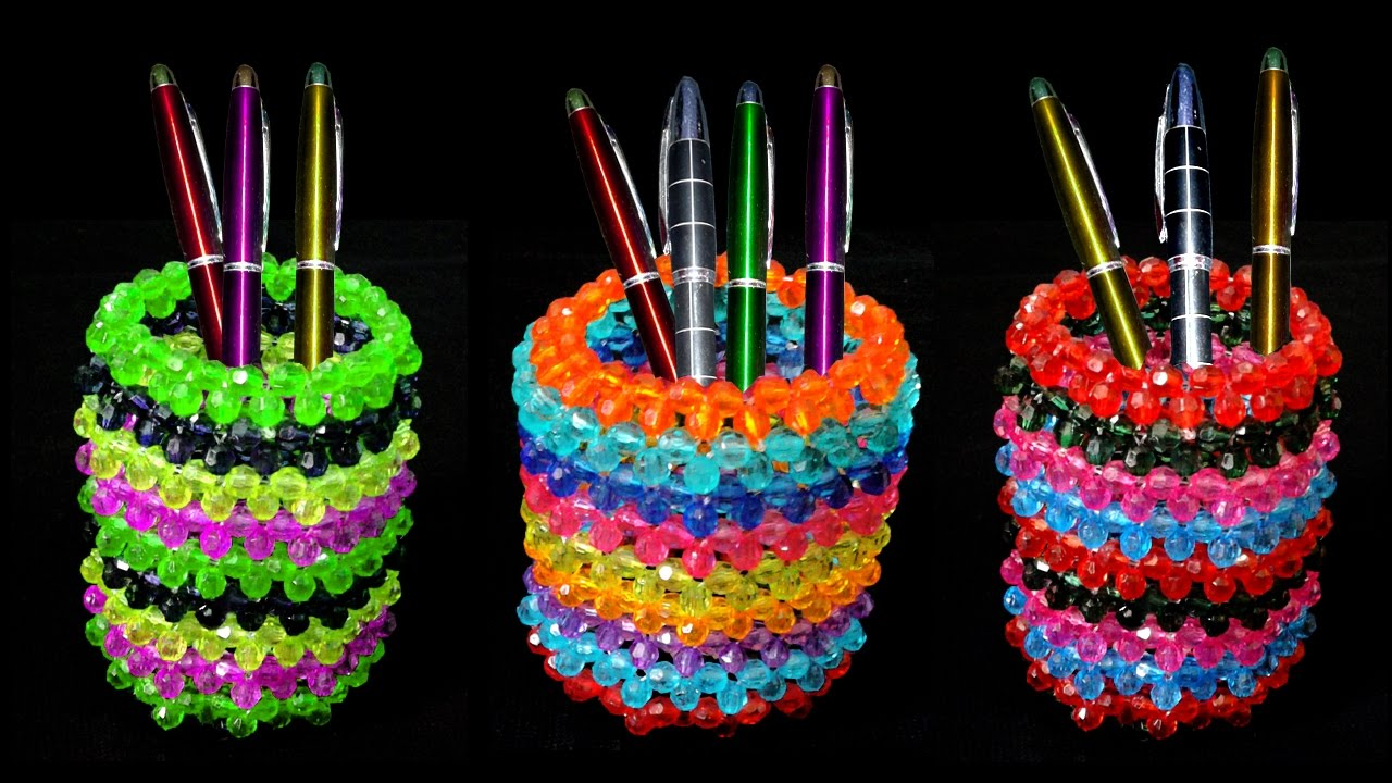 how to make pen stand pen pencil holder beaded pen stand diy pen stand craft ideas. Black Bedroom Furniture Sets. Home Design Ideas