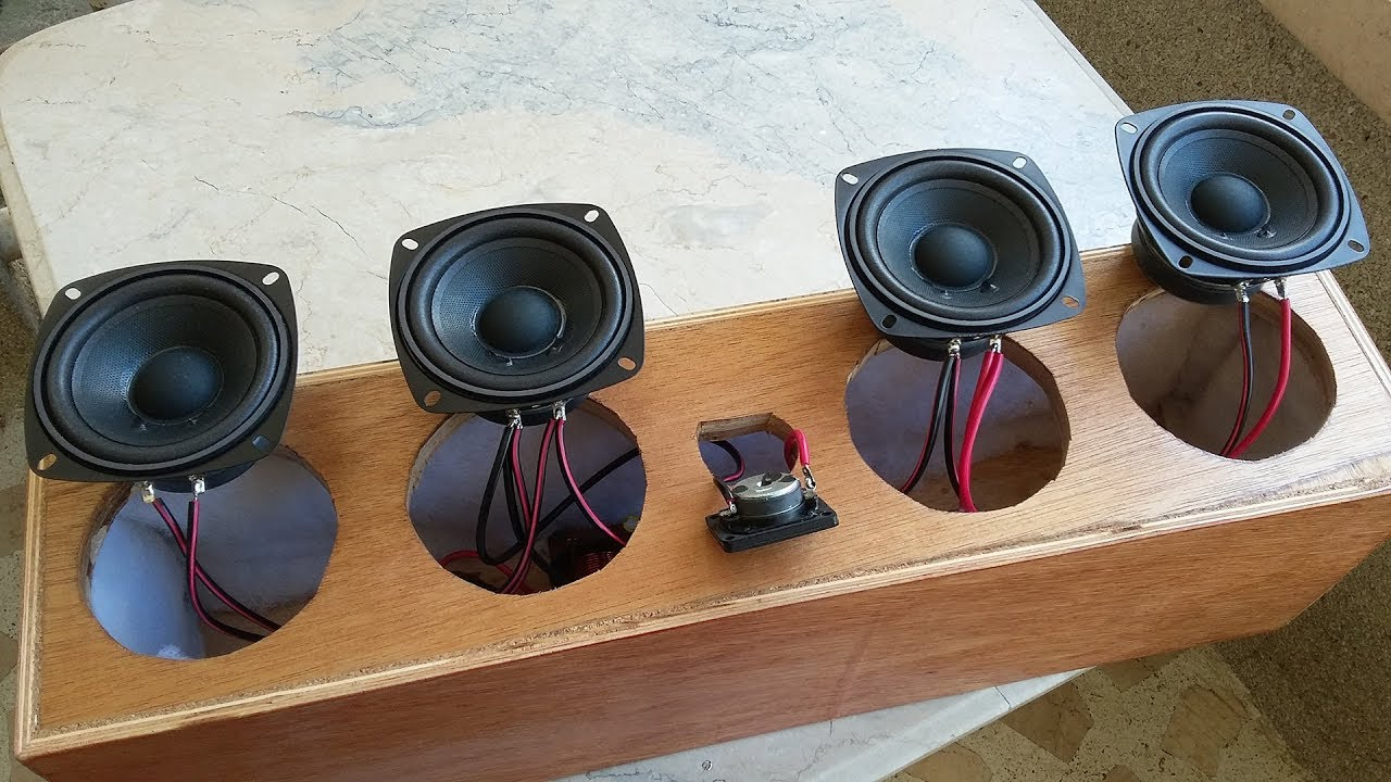 DIY Center Speaker, 2 Way Crossover Build and 4 Speaker Wiring on