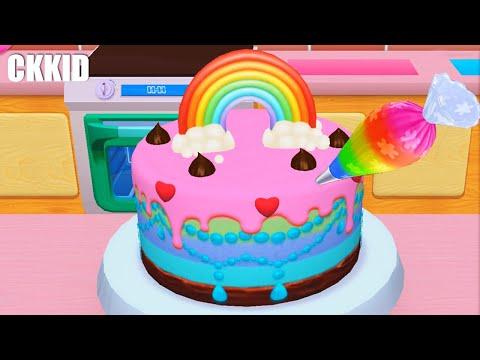 ป่วนรักนักทำขนมหวาน Day3 เค้กสายรุ้ง 🍰   3D Cake Cooking  My Bakery Empire @CKKID