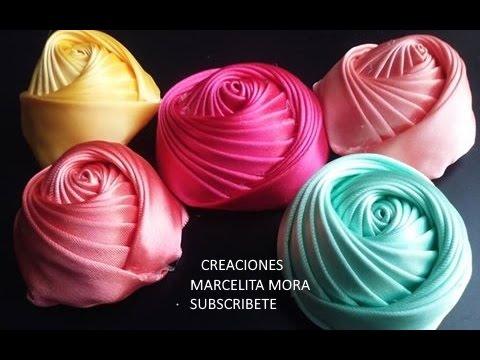 d1806a1d143 Flor Torbellino Paso a Paso /Dos Lados/Flower Ribbon Easy/DIY/Como fazer  flor de fita