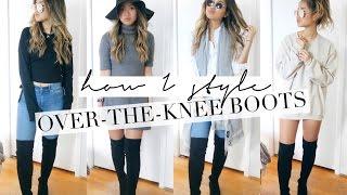 Lara Walking In Overknee Boots And Leather Mini Skirt