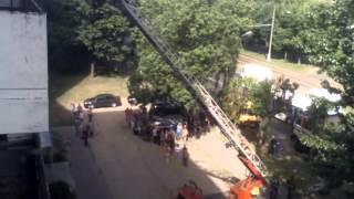 Работа спасателей на пожаре в Витебске (09.06.2015)