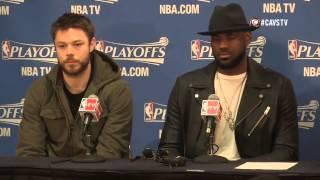Matthew Dellavedova, LeBron James and Tristan Thompson Interview - 2015 NBA Game 6 at Cavaliers