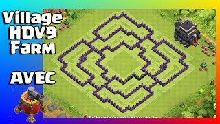 VILLAGE HDV9 FARM AVEC PROPULSEUR D'AIR - CLASH OF CLANS