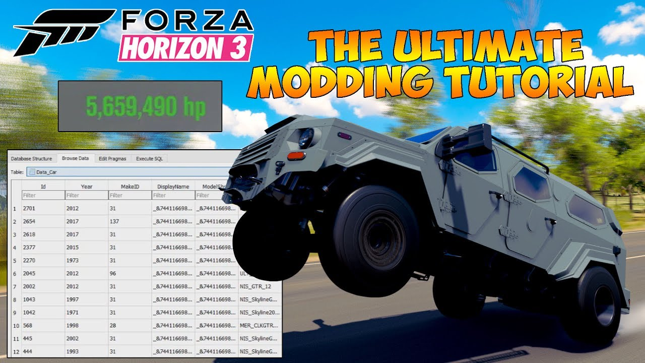 Forza Horizon 3 - ULTIMATE MODDING TUTORIAL! INCREASE HORSEPOWER, TIRE  SIZE, INSANE GRIP AND MORE!