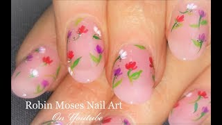 French Pink with Floating Flowers!   DIY Easy Floral Nail Art Design Tutorial
