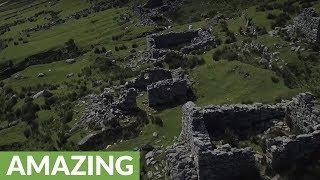 Eerie deserted village in Ireland filmed from drone