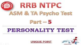 RRB NTPC ASM PSYCHO TEST | Part- V Personality Test