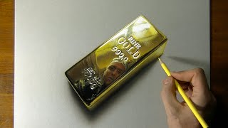 Drawing of a Gold Bar - How to Draw 3D Art