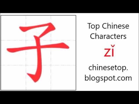 Chinese Character Z Child With Stroke Order And Pronunciation