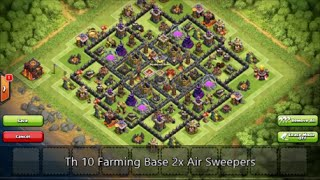 Clash Of Clans - Best Th 10 Farming Base | 2 Air Sweepers | Speed Build