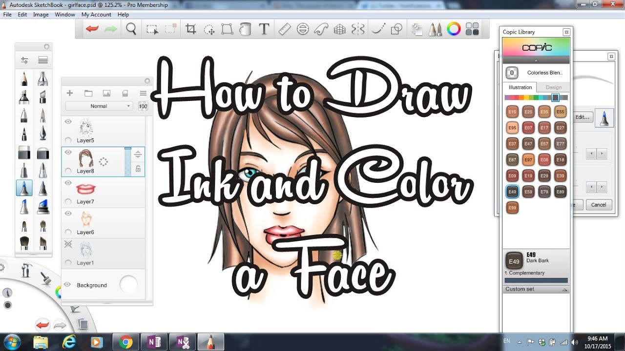 how to draw and color a face autodesk sketchbook youtube