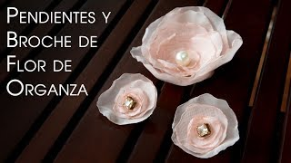 Pendientes y Clip Cabello y Broche de Flor de Organza Paso a Paso