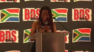 Poet and activist Natalia Molebatsi's performance at the BDS gala dinner.