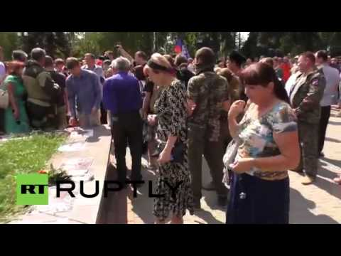 Ukraine  Donetsk commemorate the victims of fascism on Independence Day