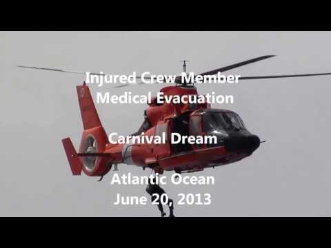 Medical Evacuation of Carnival Dream Crew Member, June 20, 2013  Severe Burn Victim
