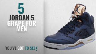 Top 10 Jordan 5 Grape [2018 ]: Nike Men's Air Jordan 5 Retro Basketball Shoes, Obsidian/Metallic Red