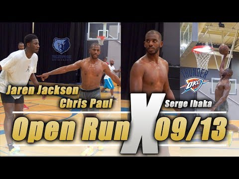 OKC Thunder Chris Paul, Jaren Jackson, Serge Ibaka Open Run