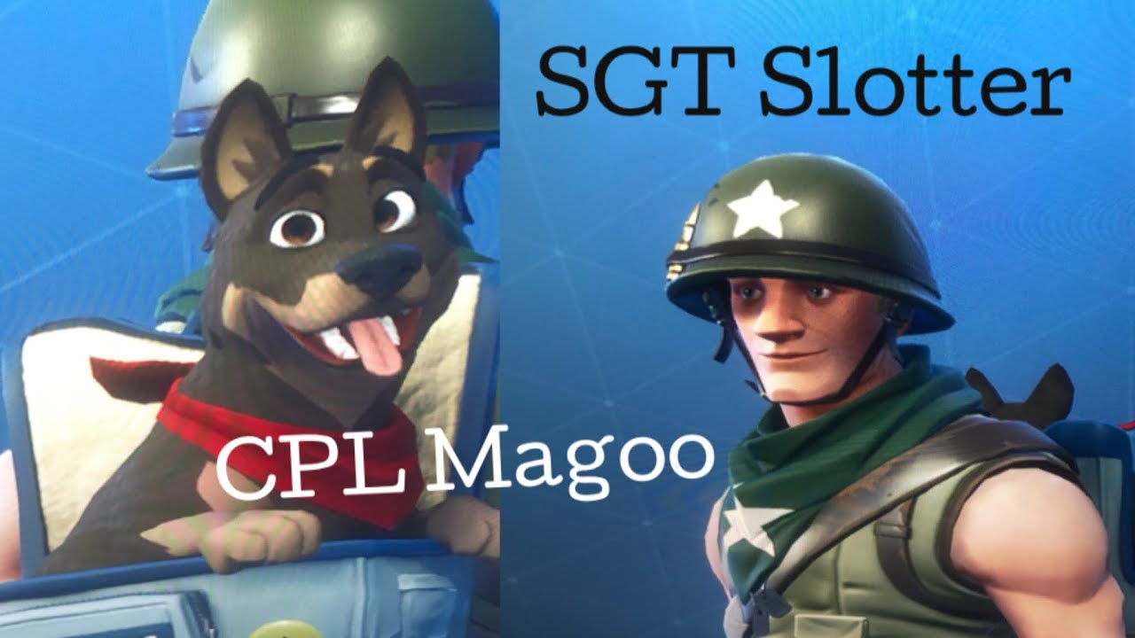 Sergeant  Slotter exploiting the drum gun in Fortnite with his dog Cpl Magoo