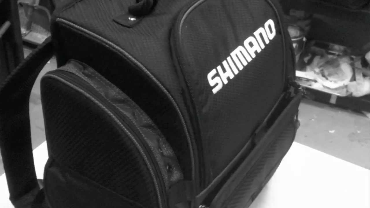 Fishing backpack shimano fully stocked youtube for Fishing backpack with rod holder
