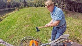 Crazy Old Guy Threatens Dirt Biker
