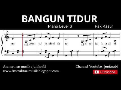 Notasi Balok Bangun Tidur - Tutorial Piano Level 3 - Not Lagu Anak Indonesia - Instrumentalia