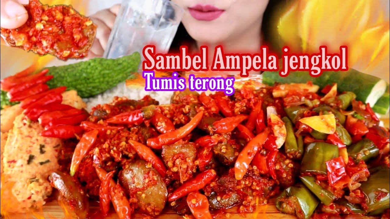 ASMR SAMBEL AMPELA JENGKOL + TUMIS TERONG IJO + PEPES TAHU PEDAS   ASMR MUKBANG INDONESIA