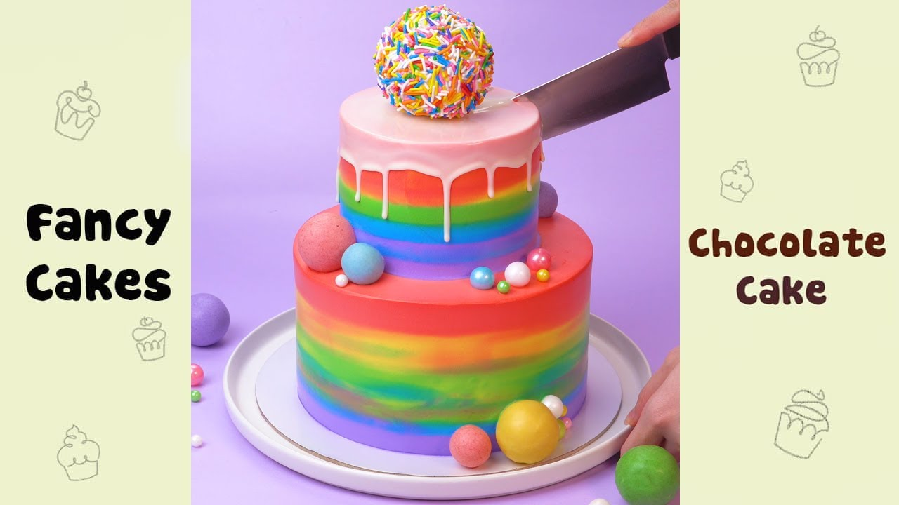 Colorful Birthday Two tier Cake Decorating Ideas #shorts
