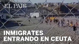 Un millar de inmigrantes entra irregularmente en Ceuta