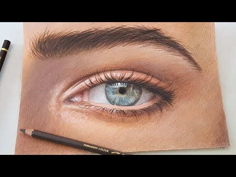 Drawing an eye using Caran d'ache Pablo colored pencils for the first time!