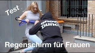 Frauen Selbstverteidigung mit einem Regenschirm. Sicherheitsschirm Test bei Onetwopunch.