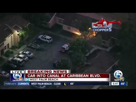 Car crashes into canal in West Palm Beach