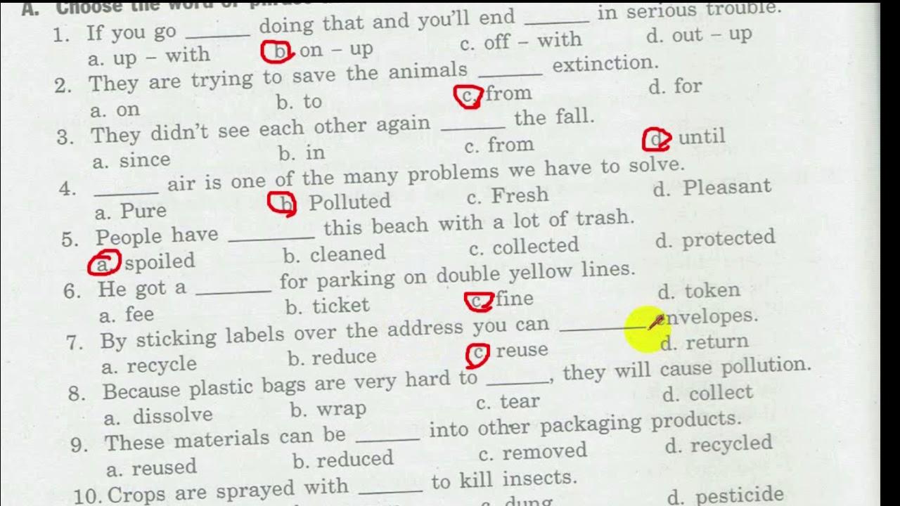 Test For Unit 6 bài tập tiếng anh lớp 9 phần I - II