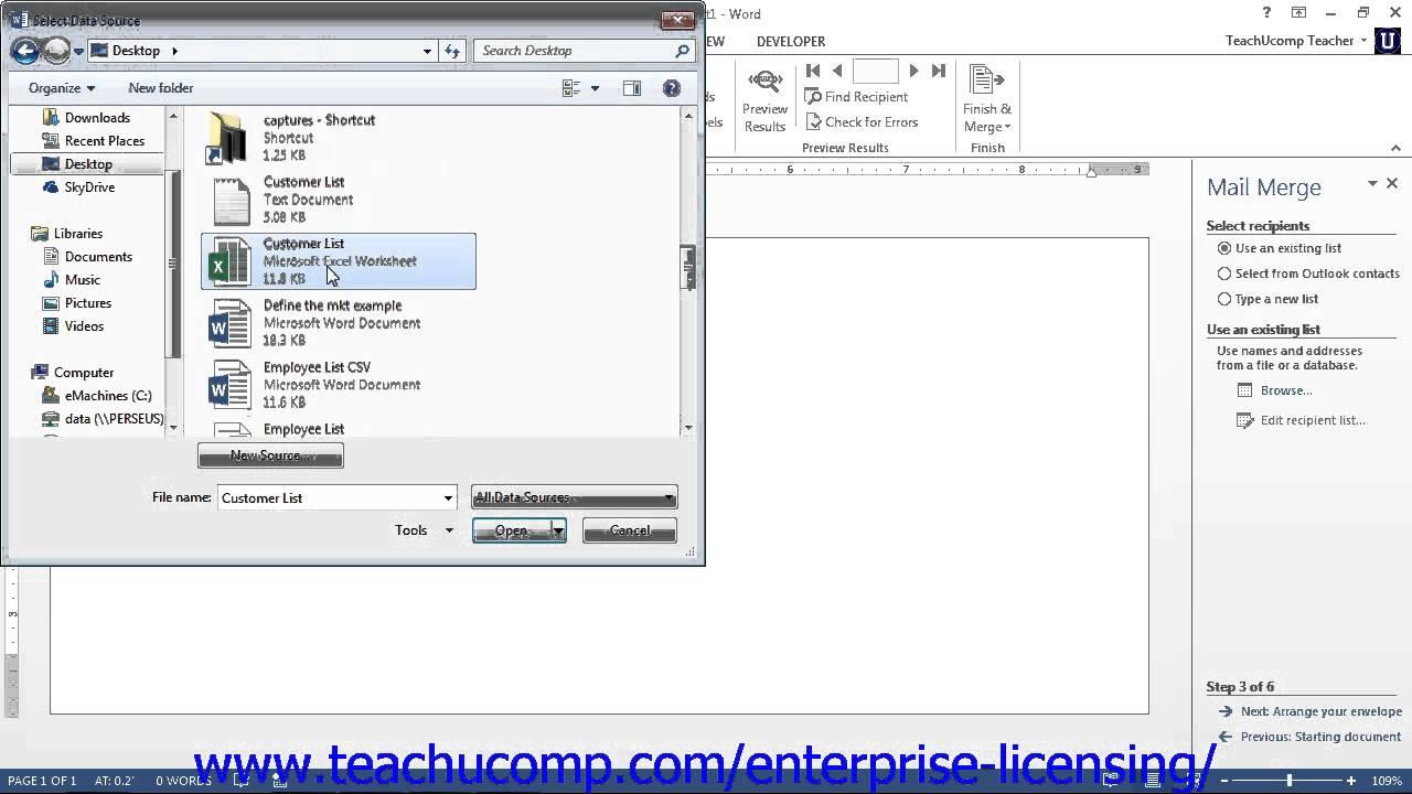 Microsoft Office Word 2013 Tutorial Mail Merge 18 2 Employee Group Training