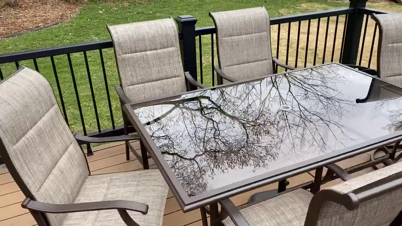 hampton bay riverbrook espresso brown 7 piece outdoor patio glass top dining set with sling chairs