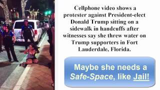Girl in Skirt Yells, Trump Protester Arrested