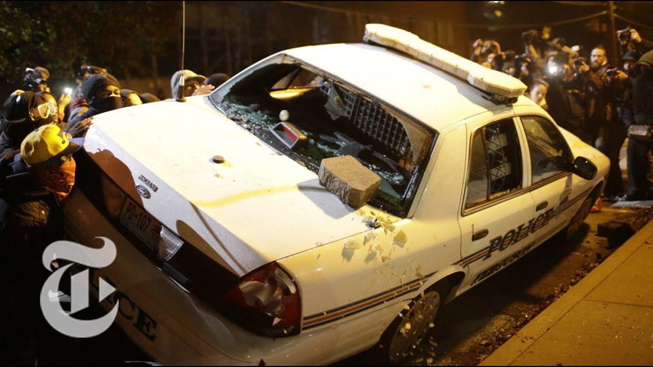 Ferguson 2014 protesters flip police car the new york times youtube