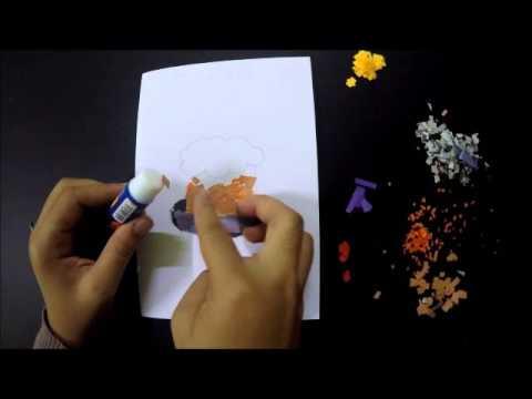 Demostrasi Pembuatan Kad Ucapan- Penegasan pada ilustrasi menggunakan  teknik kolaj